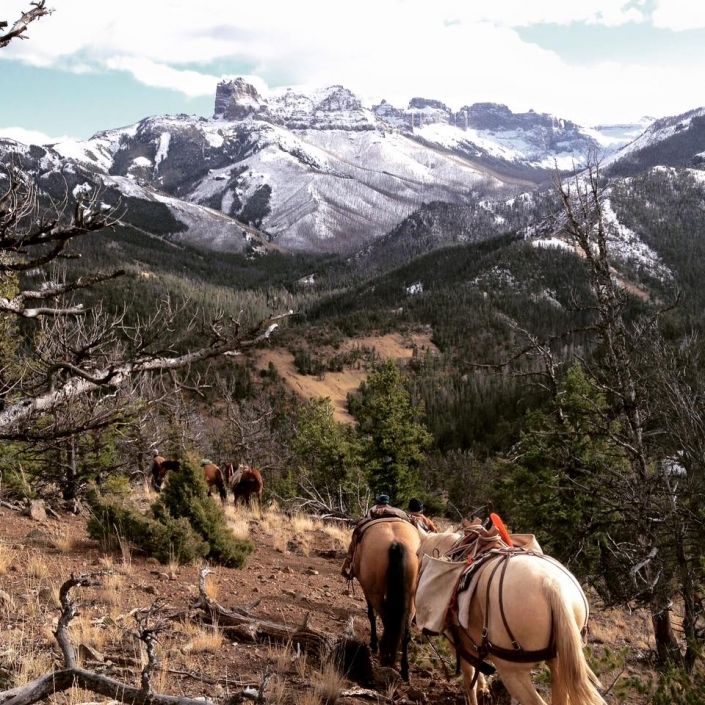 Following the Trail into camp. Sheep Mesa Outfitters